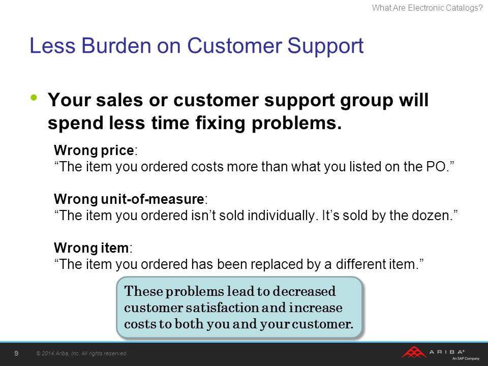 What Are Electronic Catalogs? Less Burden on Customer Support Your sales or customer support group will spend less time fixing problems. Wrong price:
