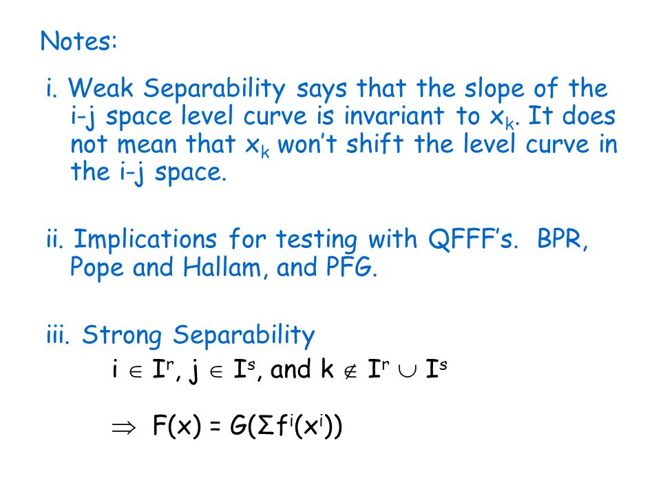 Notes: i. Weak Separability says that the slope of the i-j space level curve is invariant to x k.