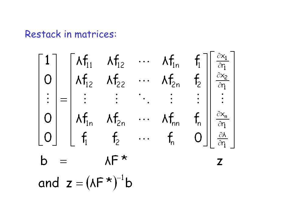 Restack in matrices: