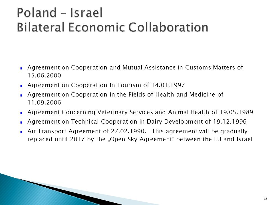 Agreement on Cooperation and Mutual Assistance in Customs Matters of Agreement on Cooperation In Tourism of Agreement on Cooperation in the Fields of Health and Medicine of Agreement Concerning Veterinary Services and Animal Health of Agreement on Technical Cooperation in Dairy Development of Air Transport Agreement of