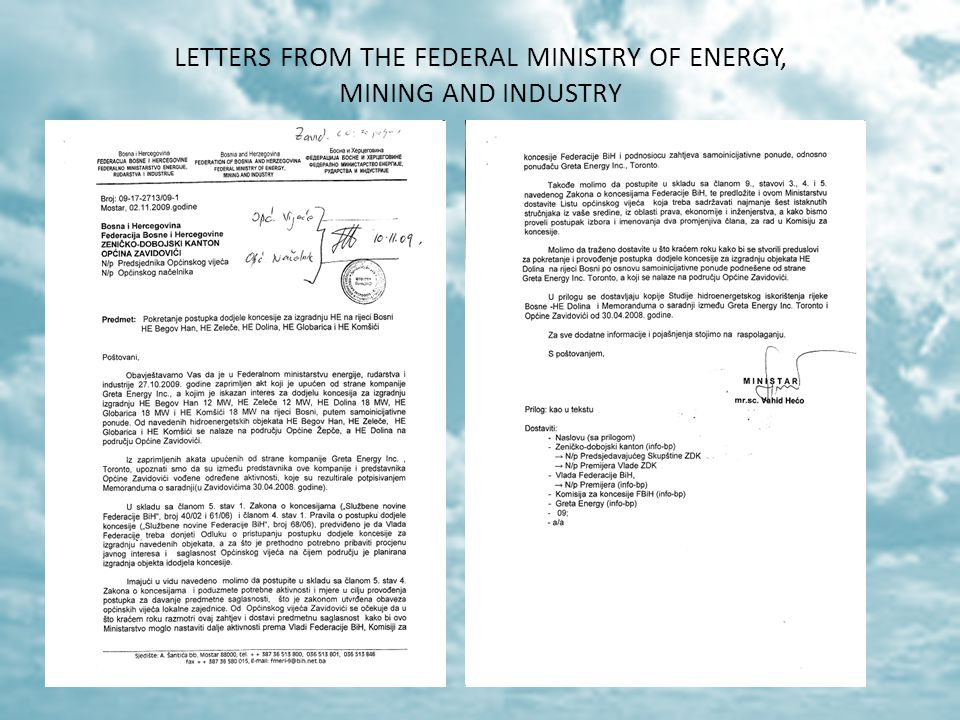 LETTERS FROM THE FEDERAL MINISTRY OF ENERGY, MINING AND INDUSTRY