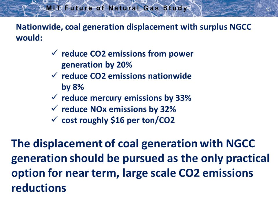 MIT Future of Natural Gas Study 45 Nationwide, coal generation displacement with surplus NGCC would: reduce CO2 emissions from power generation by 20%