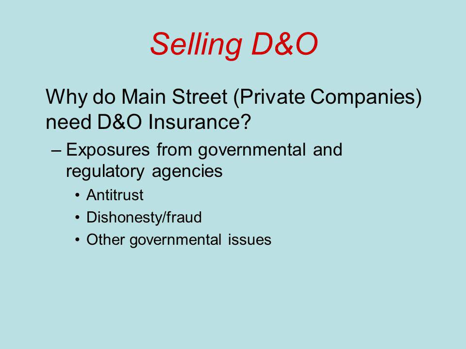 Selling D&O Why do Main Street (Private Companies) need D&O Insurance.