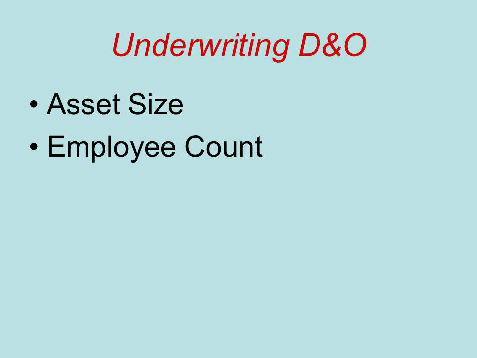 Underwriting D&O Asset Size Employee Count