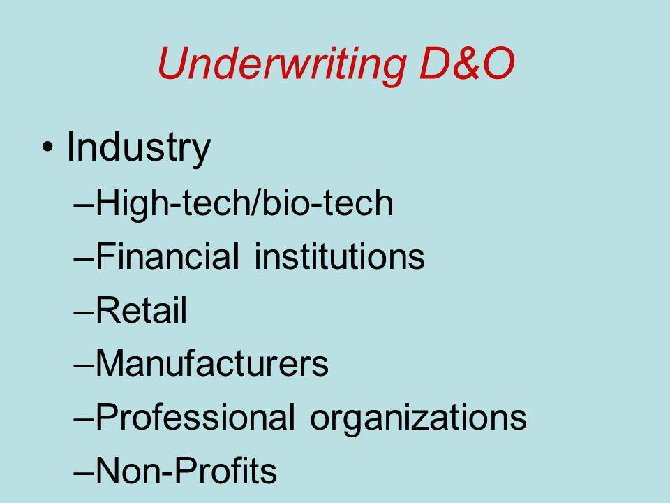 Underwriting D&O Industry –High-tech/bio-tech –Financial institutions –Retail –Manufacturers –Professional organizations –Non-Profits