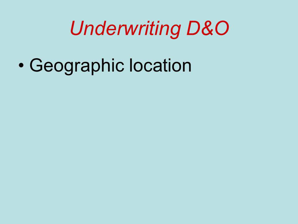 Underwriting D&O Geographic location