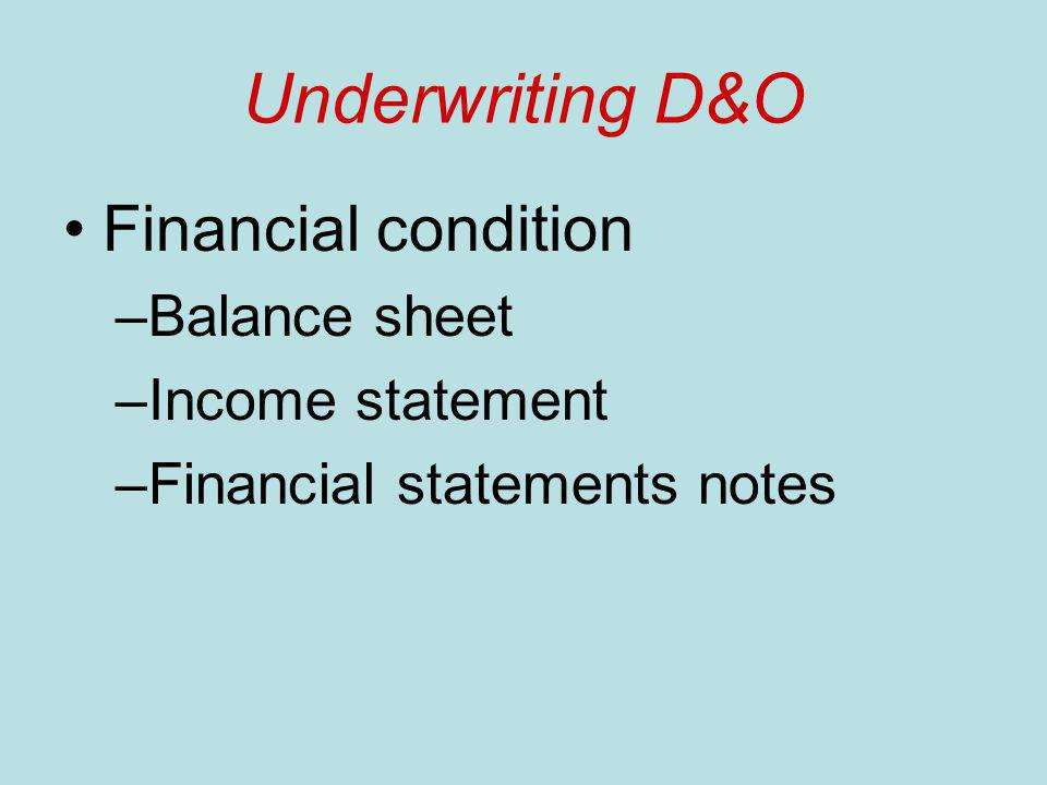 Underwriting D&O Financial condition –Balance sheet –Income statement –Financial statements notes