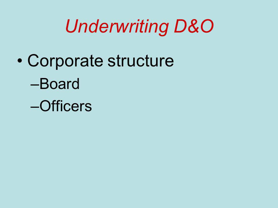 Underwriting D&O Corporate structure –Board –Officers