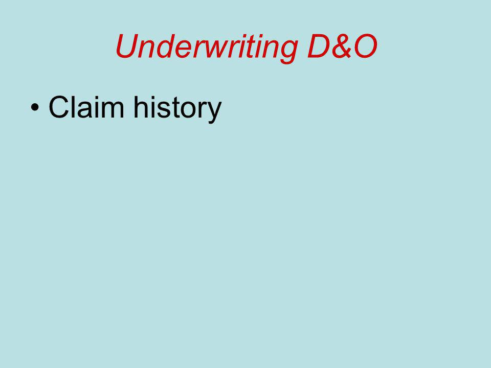 Underwriting D&O Claim history