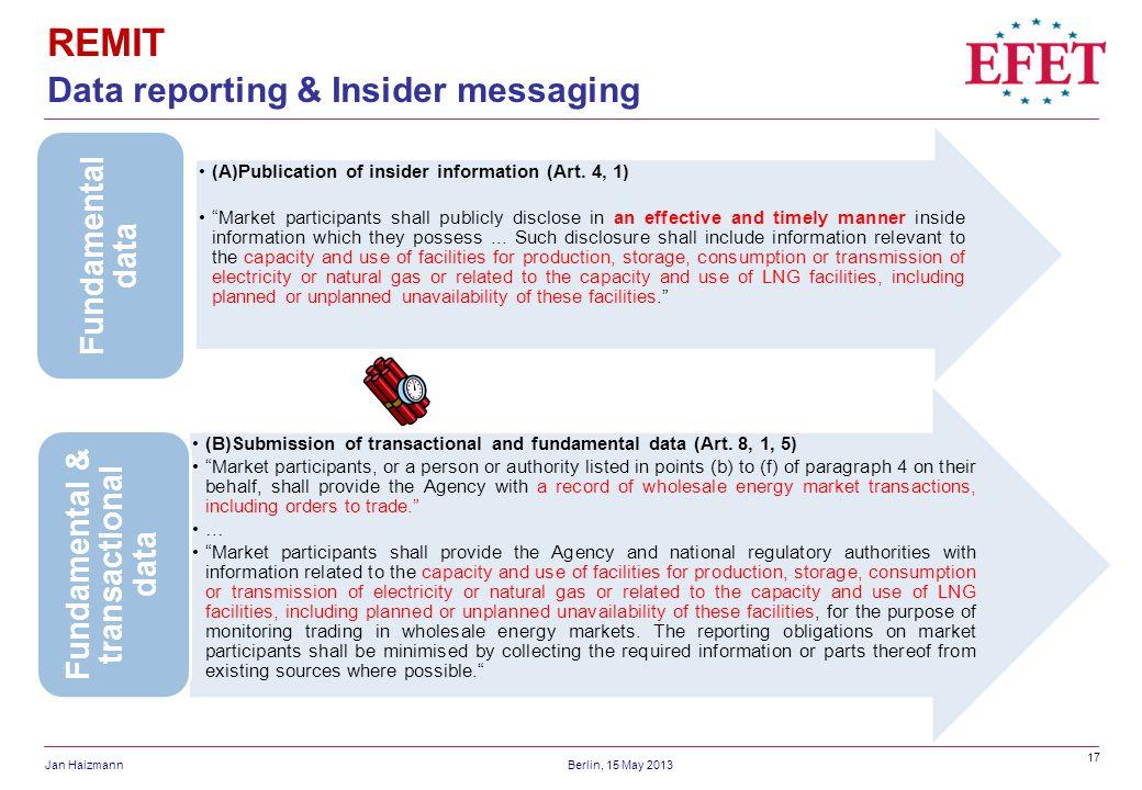 17 Jan HaizmannBerlin, 15 May 2013 REMIT Data reporting & Insider messaging (A)Publication of insider information (Art. 4, 1) Market participants shal