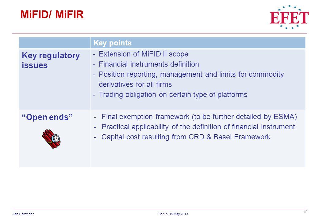 19 Jan HaizmannBerlin, 15 May 2013 MiFID/ MiFIR Key points Key regulatory issues - Extension of MiFID II scope - Financial instruments definition - Po