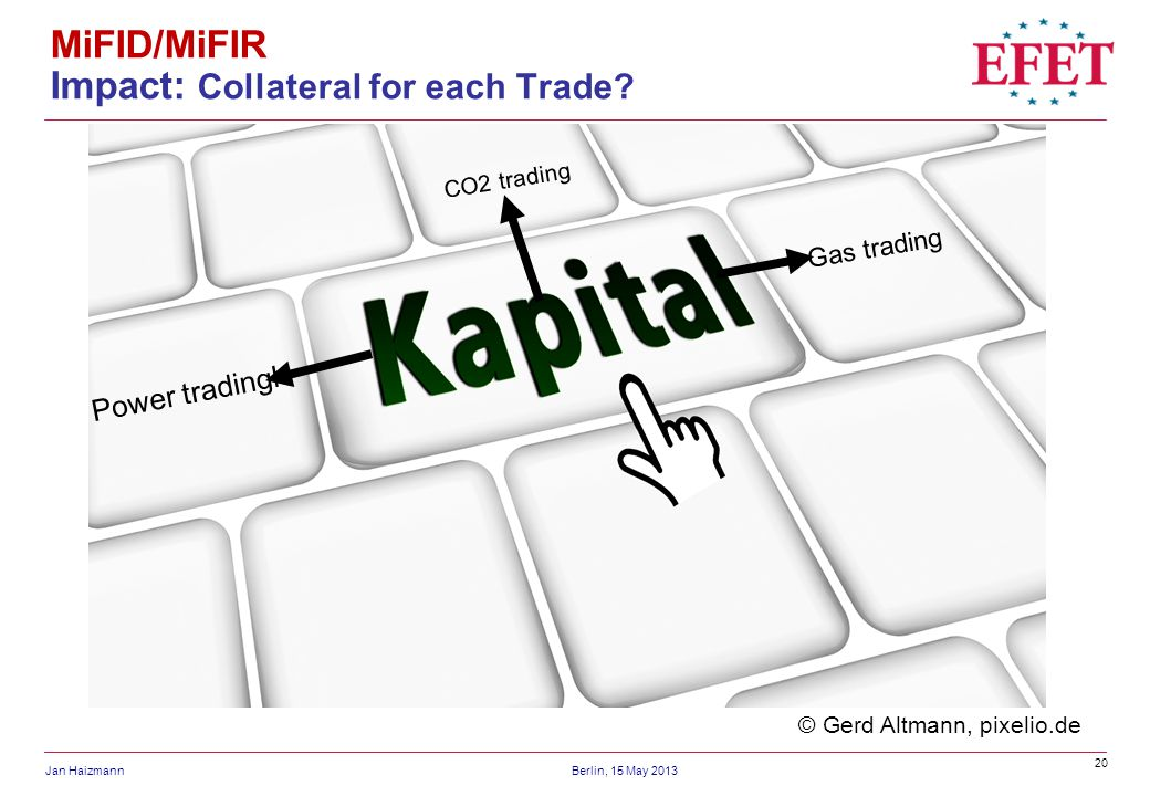20 Jan HaizmannBerlin, 15 May 2013 MiFID/MiFIR Impact: Collateral for each Trade.