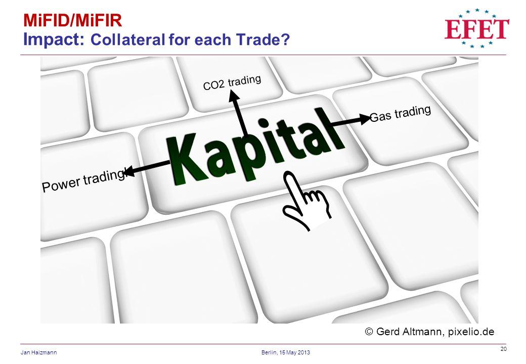 20 Jan HaizmannBerlin, 15 May 2013 MiFID/MiFIR Impact: Collateral for each Trade? © Gerd Altmann, pixelio.de Power tradingl CO2 trading Gas trading