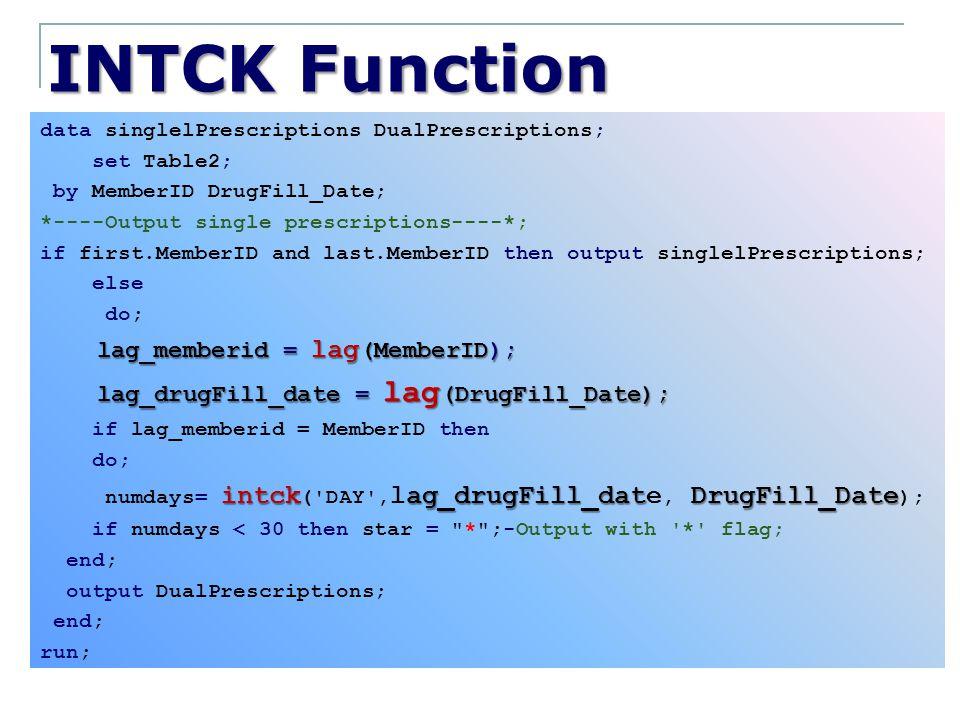 INTCK Function data singlelPrescriptions DualPrescriptions; set Table2; by MemberID DrugFill_Date; *----Output single prescriptions----*; if first.Mem