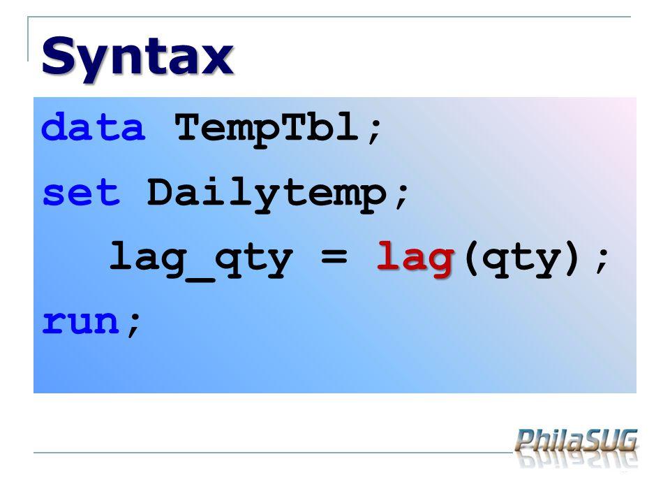 Syntax data TempTbl; set Dailytemp; lag lag_qty = lag(qty); run;