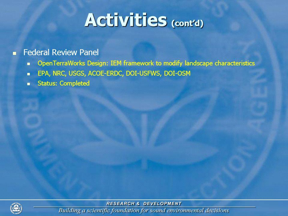 Activities (contd) Federal Review Panel OpenTerraWorks Design: IEM framework to modify landscape characteristics EPA, NRC, USGS, ACOE-ERDC, DOI-USFWS, DOI-OSM Status: Completed