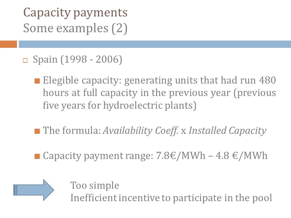 Spain (1998 - 2006) Elegible capacity: generating units that had run 480 hours at full capacity in the previous year (previous five years for hydroelectric plants) The formula: Availability Coeff.