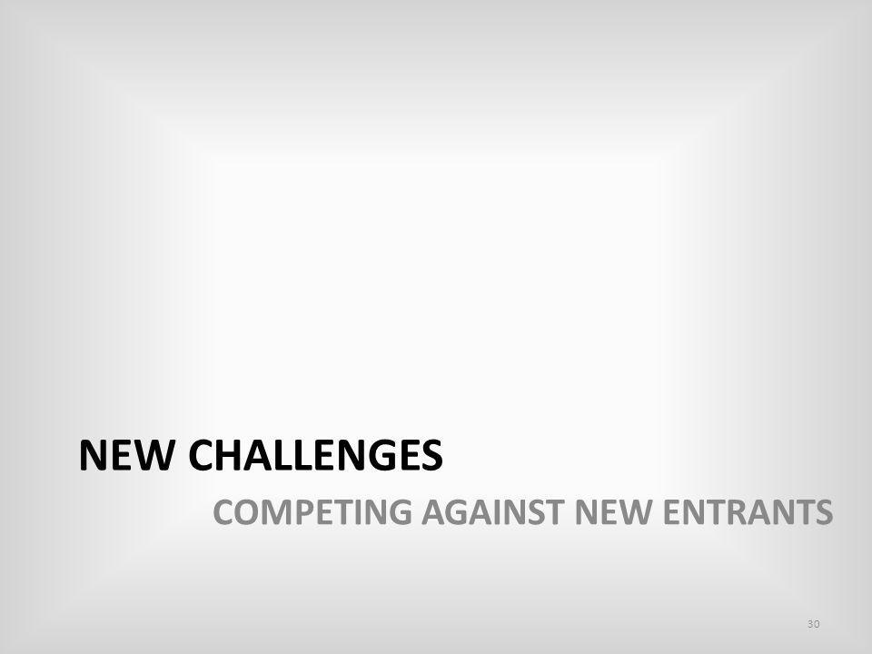 NEW CHALLENGES 30 COMPETING AGAINST NEW ENTRANTS