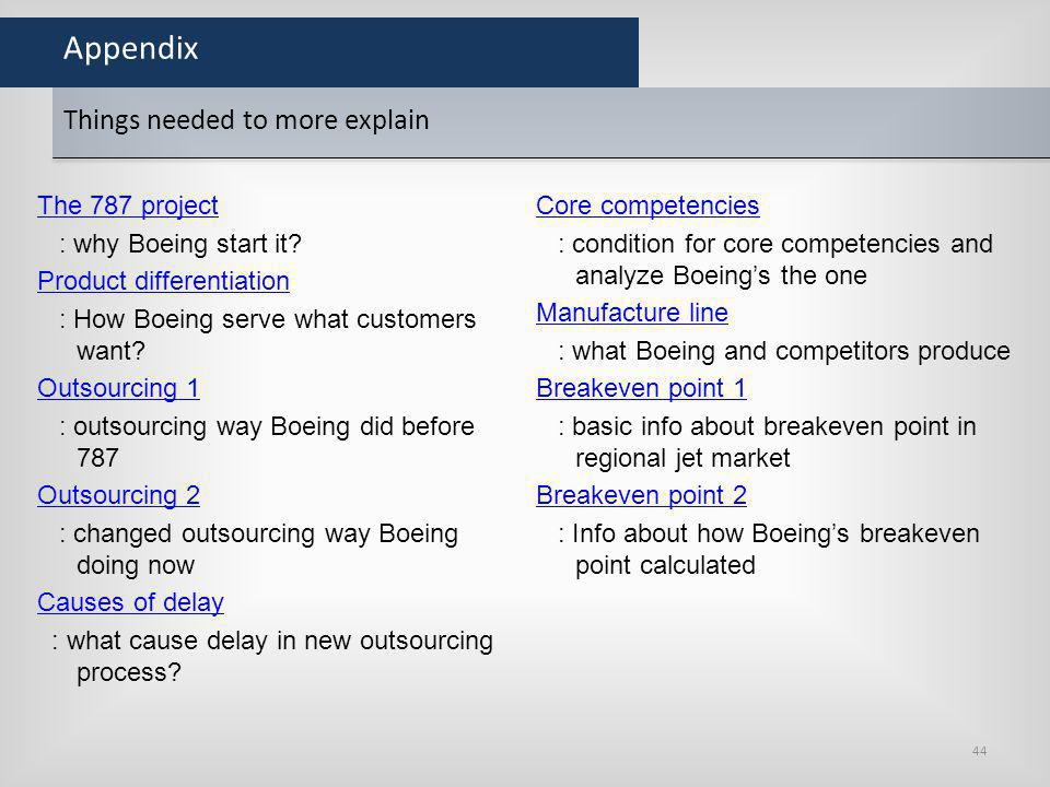 Appendix The 787 project : why Boeing start it? Product differentiation : How Boeing serve what customers want? Outsourcing 1 : outsourcing way Boeing