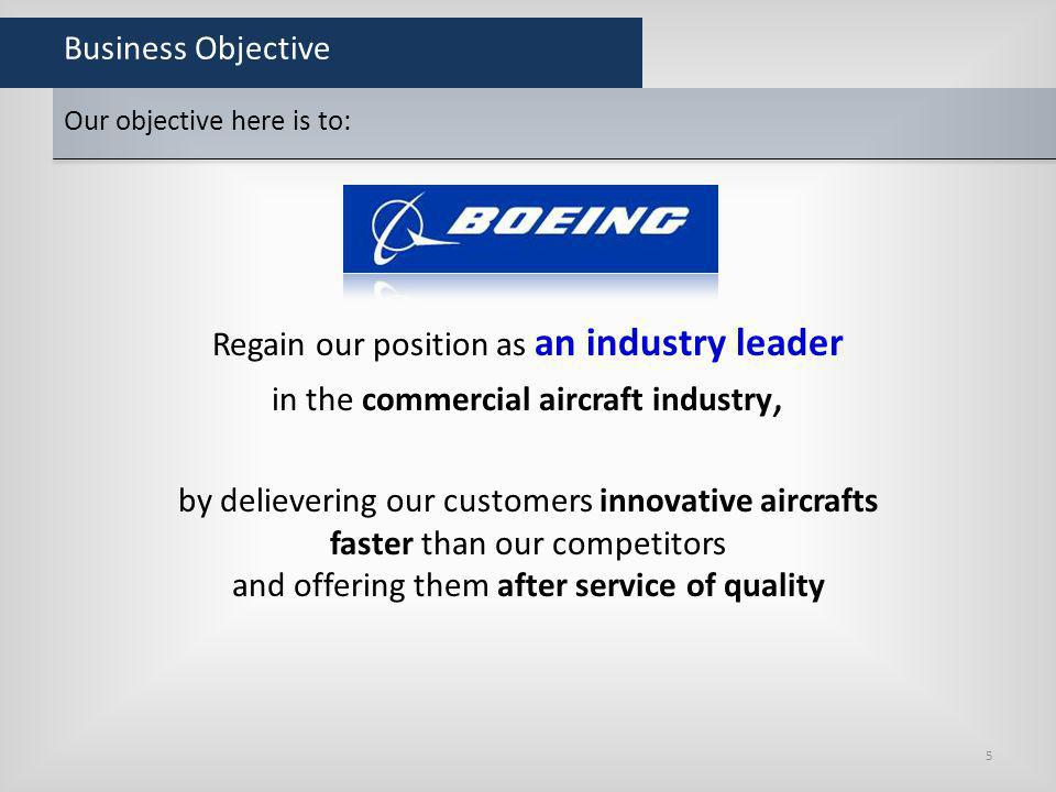 Business Objective Regain our position as an industry leader in the commercial aircraft industry, by delievering our customers innovative aircrafts fa