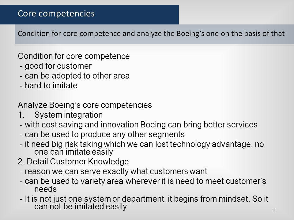 Core competencies Condition for core competence - good for customer - can be adopted to other area - hard to imitate Analyze Boeings core competencies