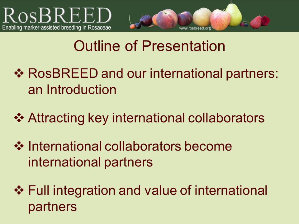 Outline of Presentation RosBREED and our international partners: an Introduction Attracting key international collaborators International collaborators become international partners Full integration and value of international partners