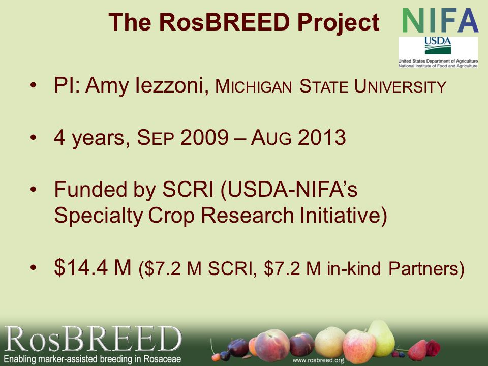 PI: Amy Iezzoni, M ICHIGAN S TATE U NIVERSITY 4 years, S EP 2009 – A UG 2013 Funded by SCRI (USDA-NIFAs Specialty Crop Research Initiative) $14.4 M ($7.2 M SCRI, $7.2 M in-kind Partners) The RosBREED Project