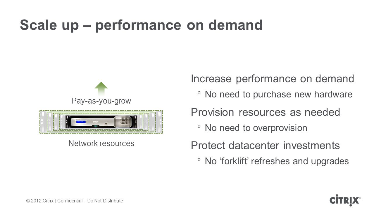 © 2012 Citrix | Confidential – Do Not Distribute Scale up – performance on demand Increase performance on demand No need to purchase new hardware Provision resources as needed No need to overprovision Protect datacenter investments No forklift refreshes and upgrades Pay-as-you-grow Network resources