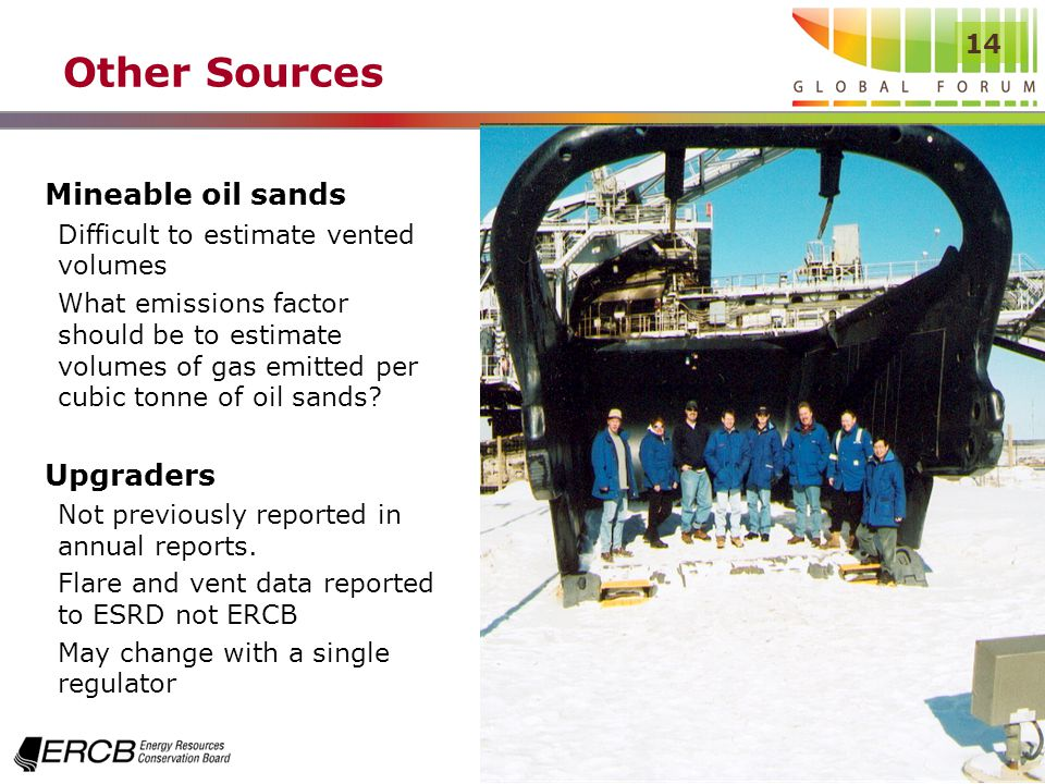 14 Other Sources Mineable oil sands Difficult to estimate vented volumes What emissions factor should be to estimate volumes of gas emitted per cubic tonne of oil sands.