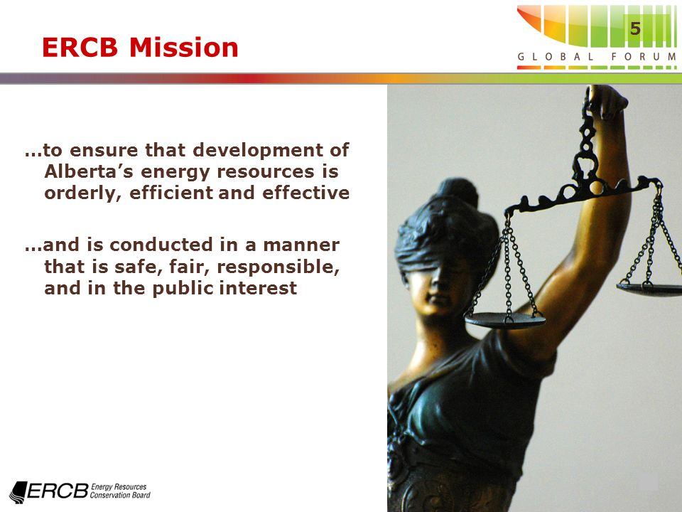 5 ERCB Mission …to ensure that development of Albertas energy resources is orderly, efficient and effective …and is conducted in a manner that is safe, fair, responsible, and in the public interest
