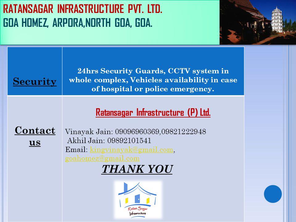 RATANSAGAR INFRASTRUCTURE PVT. LTD. GOA HOMEZ, ARPORA,NORTH GOA, GOA. Security 24hrs Security Guards, CCTV system in whole complex, Vehicles availabil