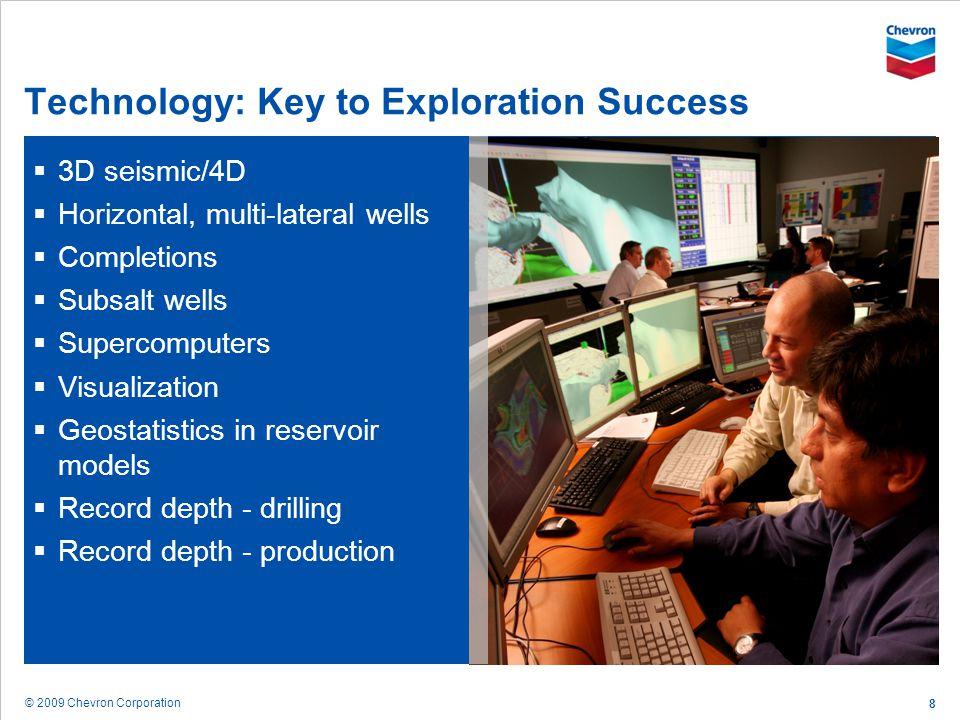 © 2009 Chevron Corporation 8 Technology: Key to Exploration Success 3D seismic/4D Horizontal, multi-lateral wells Completions Subsalt wells Supercompu