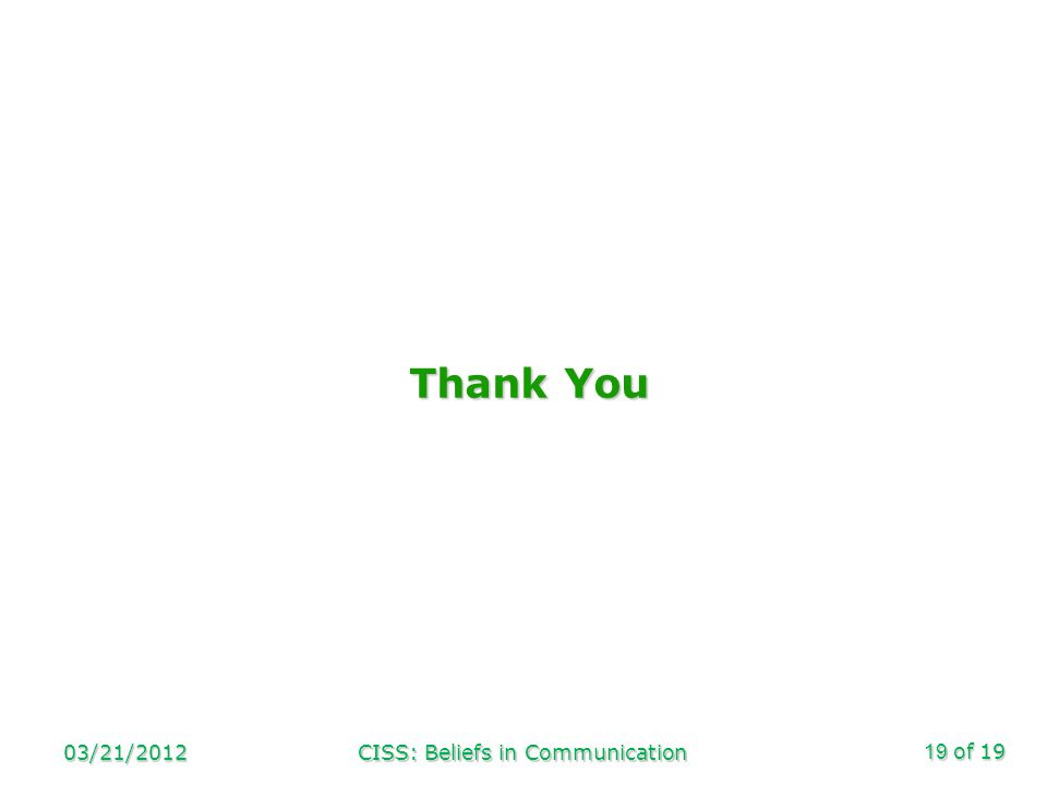 of 19 Thank You 03/21/2012CISS: Beliefs in Communication19