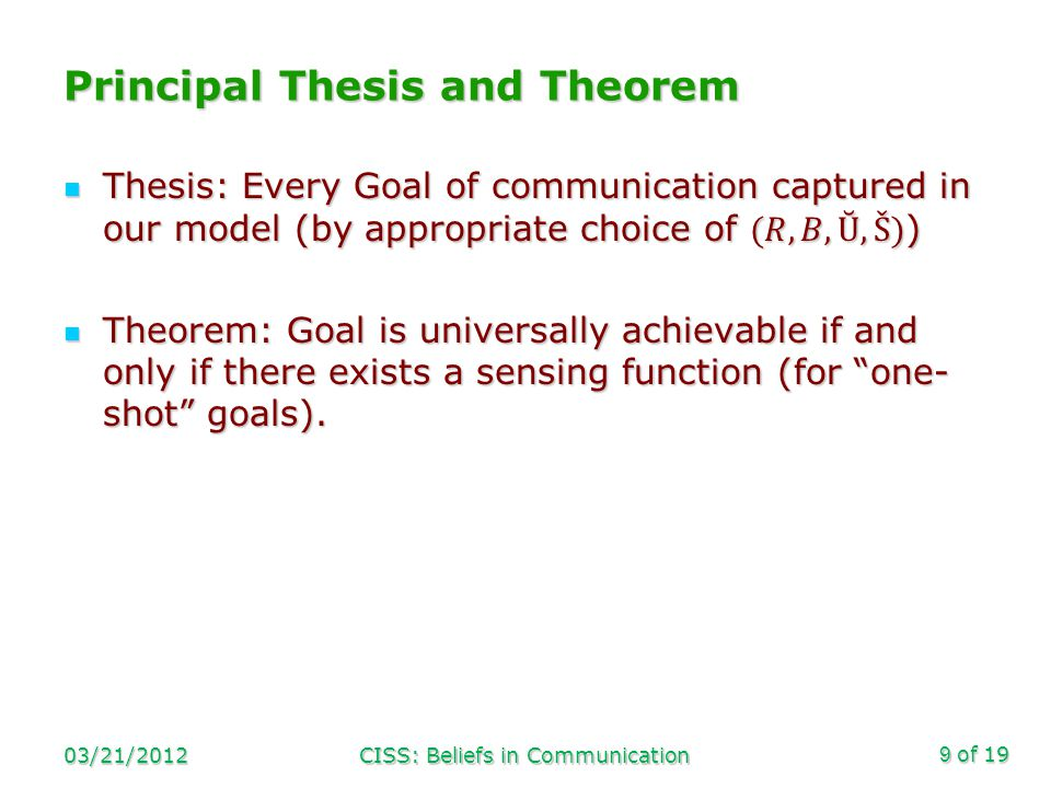 of 19 Principal Thesis and Theorem 03/21/2012CISS: Beliefs in Communication9