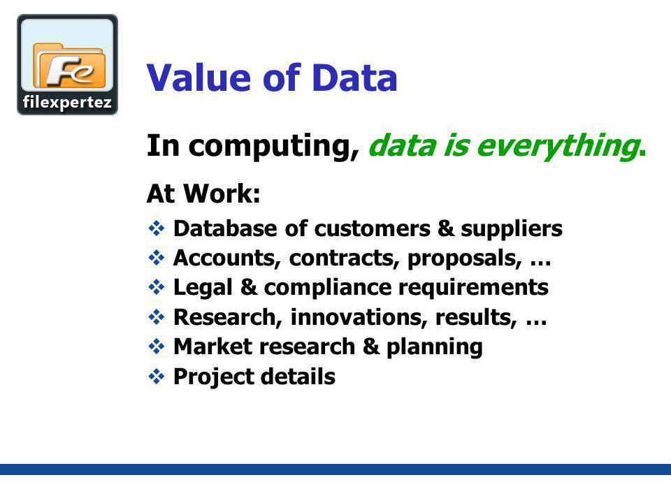 Value of Data (continued) At Home: Personal data, such as Savings & investment details Family photos & videos of events Collection of music Personal creations, hobbies, documents, … Data is everything.