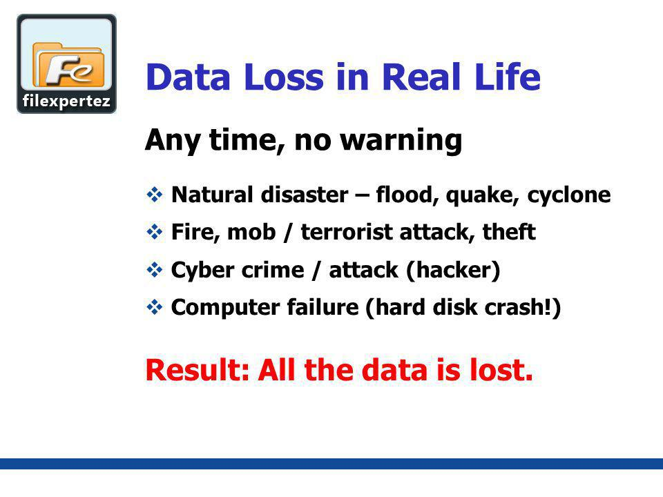 Any time, no warning Data Loss in Real Life Natural disaster – flood, quake, cyclone Fire, mob / terrorist attack, theft Cyber crime / attack (hacker) Computer failure (hard disk crash!) Result: All the data is lost.