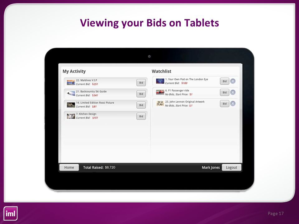 Page 17 Viewing your Bids on Tablets