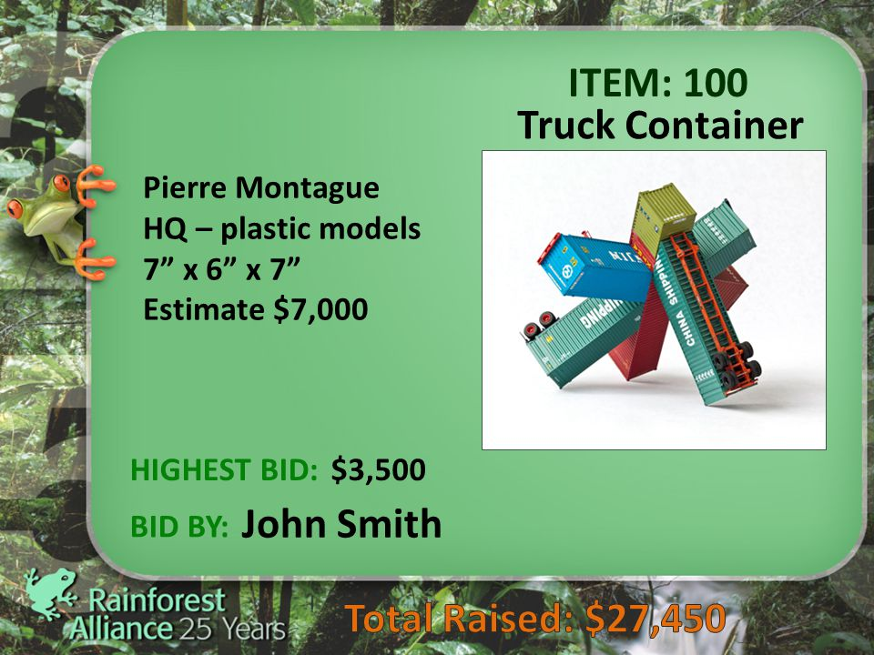 Page 19 ITEM: 100 Truck Container HIGHEST BID: BID BY: Pierre Montague HQ – plastic models 7 x 6 x 7 Estimate $7,000 $3,500 John Smith
