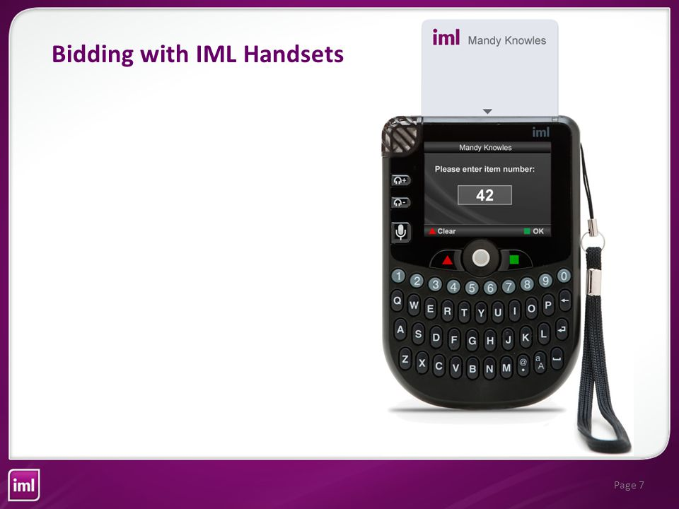 Page 7 Bidding with IML Handsets