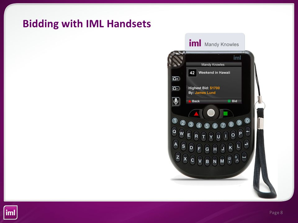 Page 8 Bidding with IML Handsets
