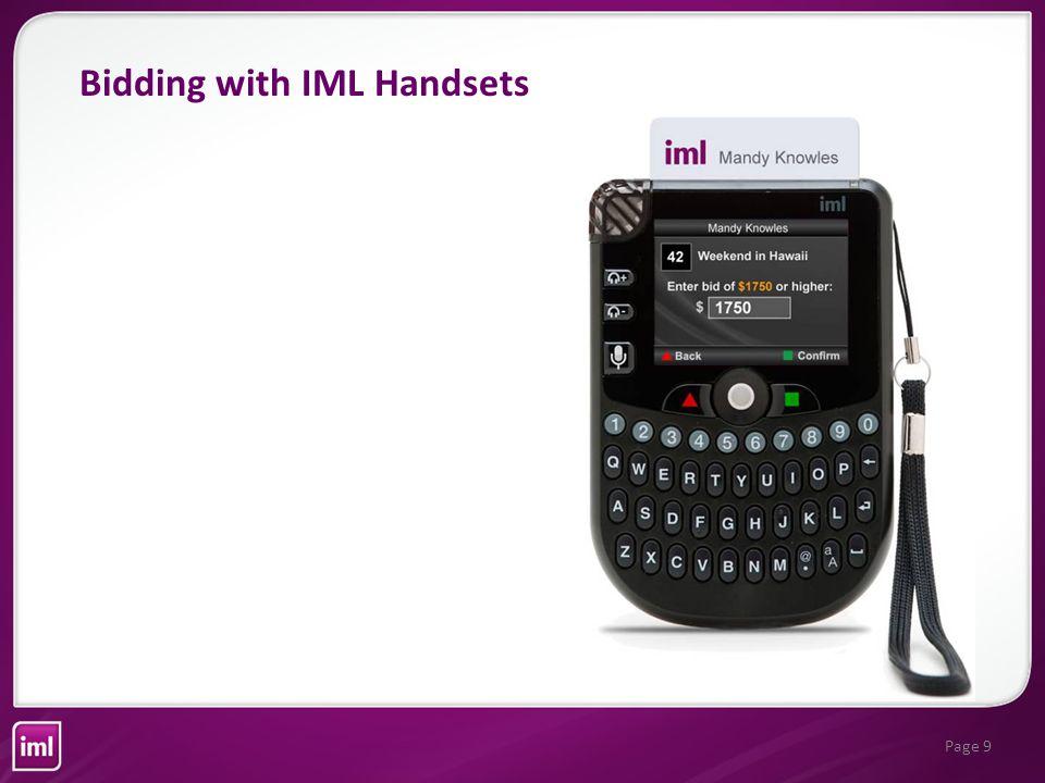 Page 10 If the minimum bid is not met, the handset says Minimum Bid Not Met Bidding with IML Handsets