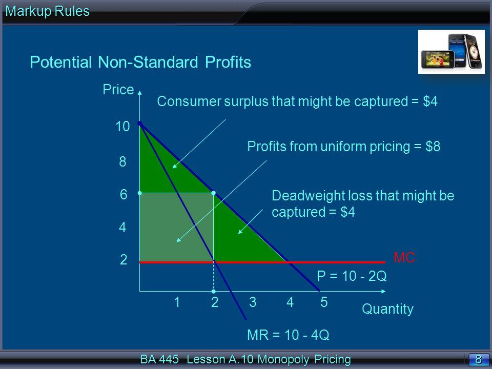 49 No price discriminationNo price discrimination n Q = 100 – 0.1P implies P = 1,000 – 10Q n MR = 1,000 – 20Q n MC = 500 n MR = MC implies 1,000 – 20Q = 500, or Q = 25.