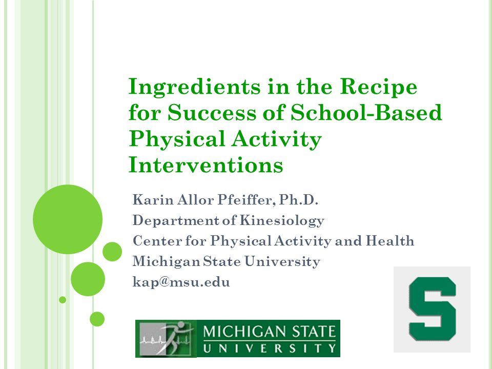Ingredients in the Recipe for Success of School-Based Physical Activity Interventions Karin Allor Pfeiffer, Ph.D. Department of Kinesiology Center for