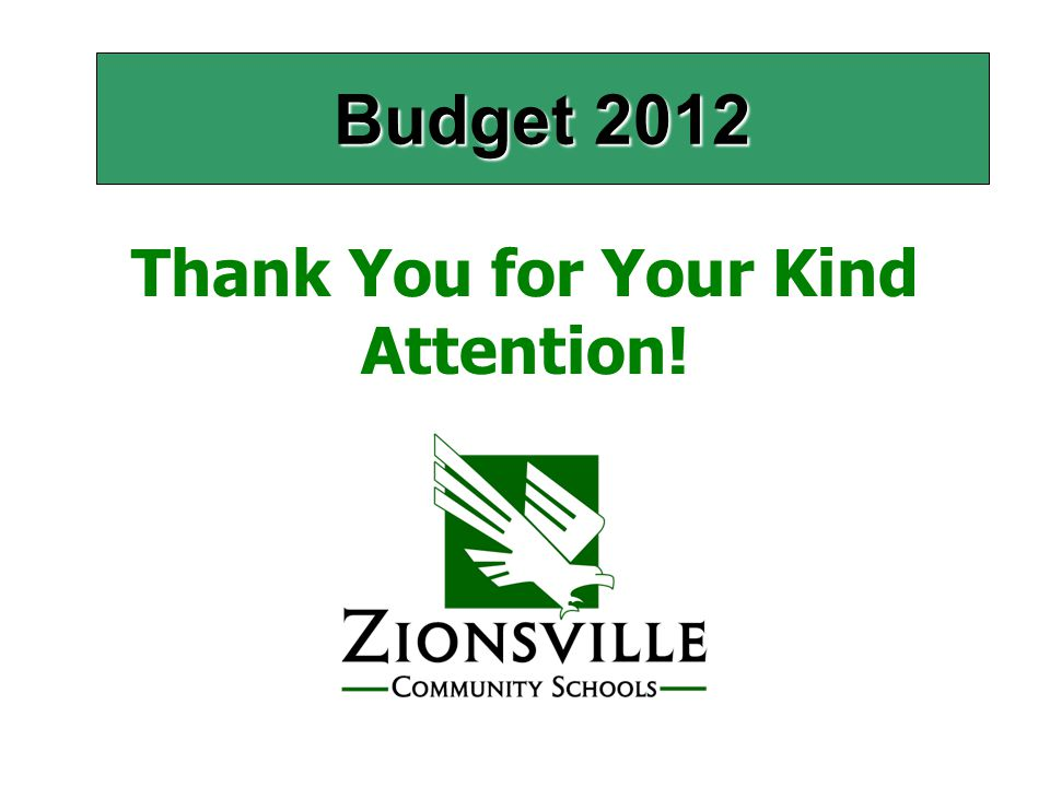 Budget 2012 Thank You for Your Kind Attention!