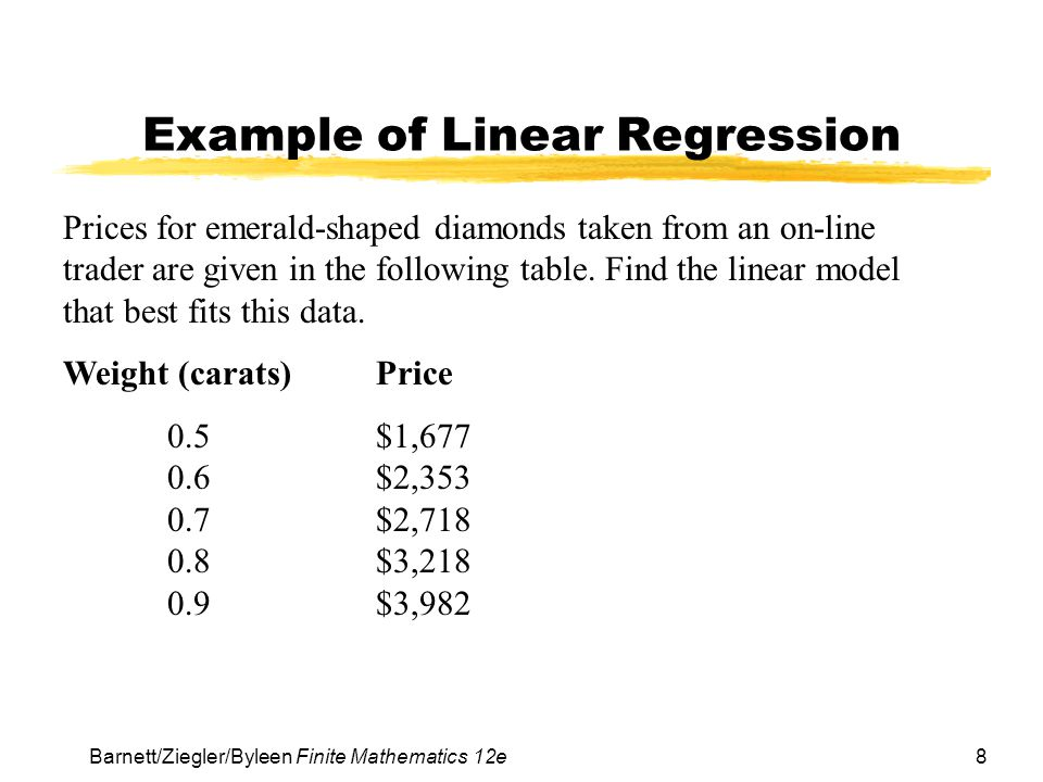 8 Barnett/Ziegler/Byleen Finite Mathematics 12e Example of Linear Regression Prices for emerald-shaped diamonds taken from an on-line trader are given in the following table.