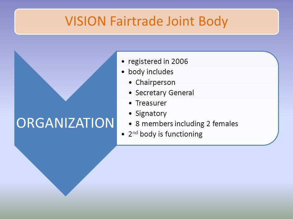 VISION Fairtrade Joint Body ORGANIZATION registered in 2006 body includes Chairperson Secretary General Treasurer Signatory 8 members including 2 females 2 nd body is functioning