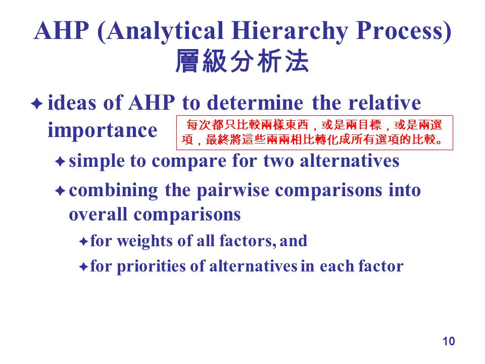 10 AHP (Analytical Hierarchy Process) ideas of AHP to determine the relative importance simple to compare for two alternatives combining the pairwise