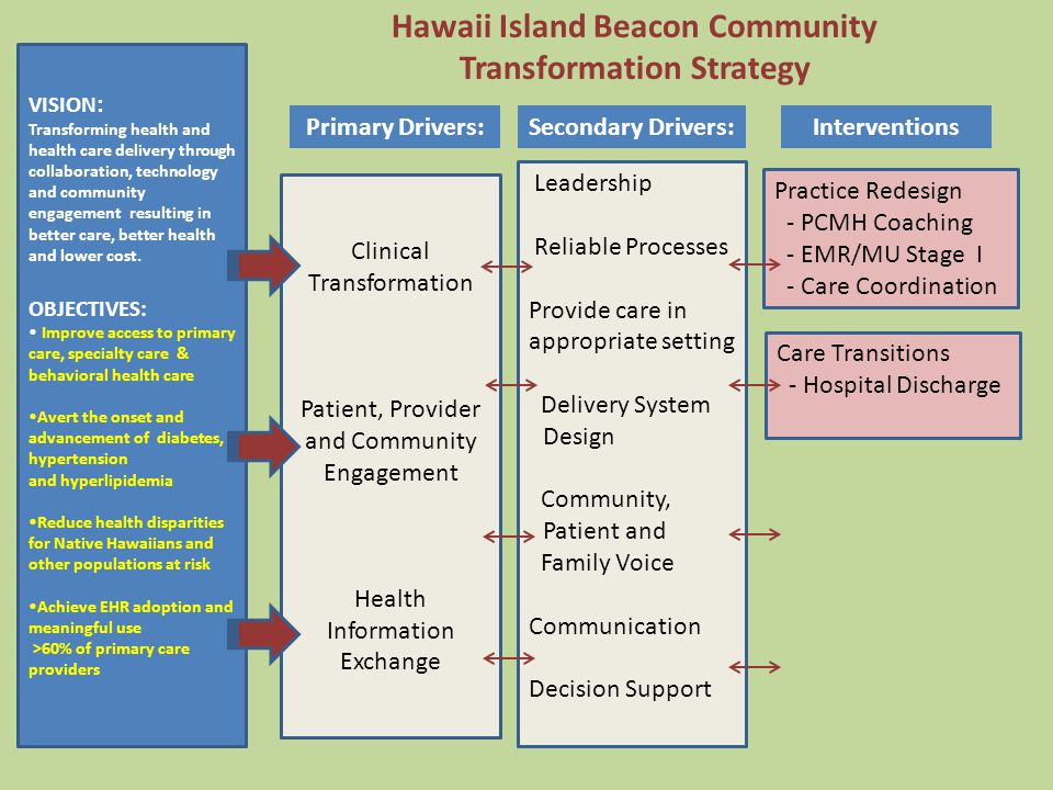 Hawaii Island Beacon Community Transformation Strategy VISION : Transforming health and health care delivery through collaboration, technology and community engagement resulting in better care, better health and lower cost.