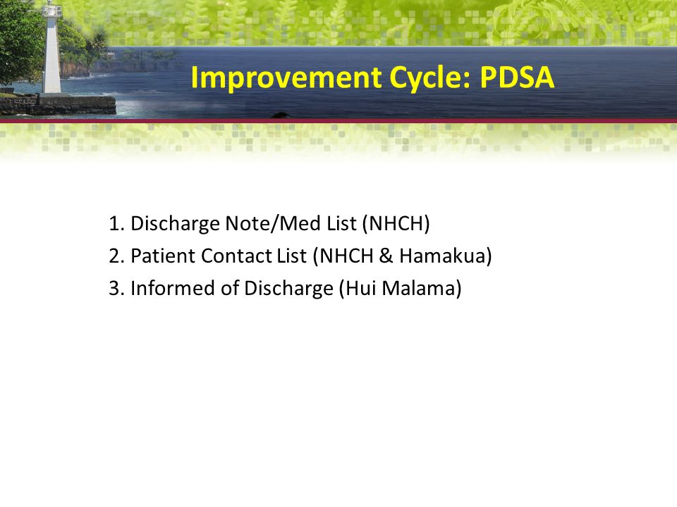 Improvement Cycle: PDSA 1.Discharge Note/Med List (NHCH) 2.
