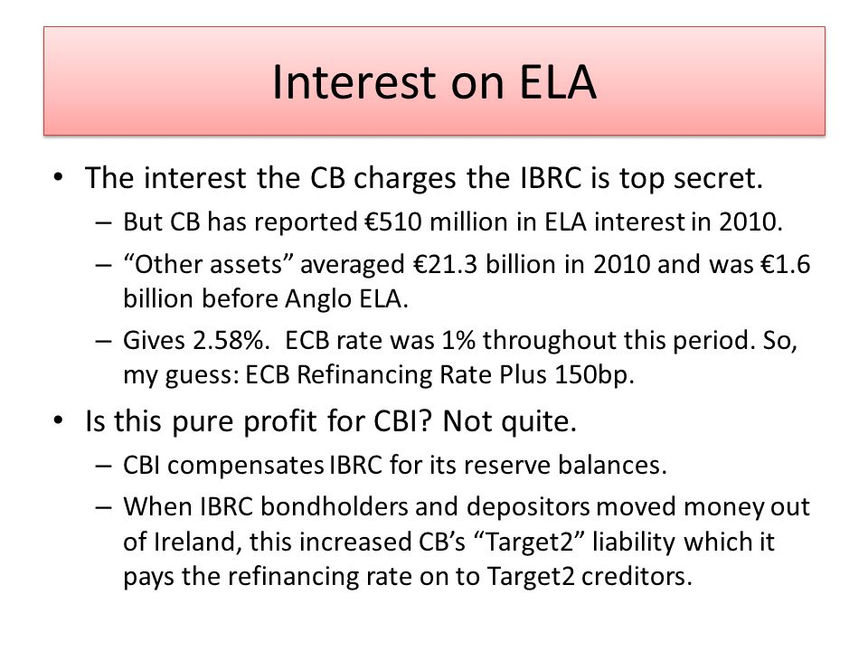Interest on ELA The interest the CB charges the IBRC is top secret.